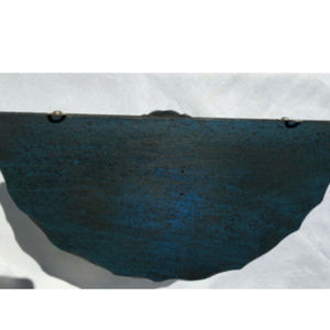 Wall Art - VTG Carved Wood Stained Blue & Antiqued Wall Shelf